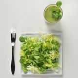 Salad and green smoothie Stock Image