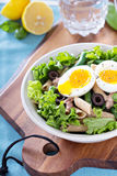 Salad with greens, pasta, tuna and egg Royalty Free Stock Photo