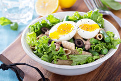 Salad with greens, pasta, tuna and egg Royalty Free Stock Image