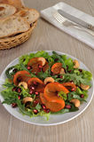 Salad greens with persimmon, pomegranate and cashews Royalty Free Stock Image