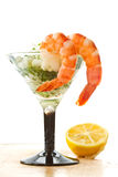 Salad with greens and prawns Royalty Free Stock Photo