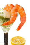 Salad with greens and prawns Stock Images