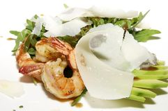 Salad greens and shrimp Royalty Free Stock Images