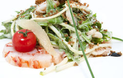 Salad greens and shrimp Stock Photography