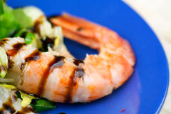 Salad of Grilled Argentinian Prawns with Vinegar Stock Photo