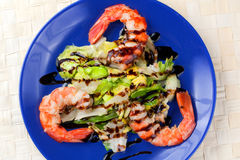 Salad of Grilled Argentinian Prawns with Vinegar Royalty Free Stock Photography