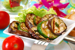 Salad with grilled aubergine and zucchini Royalty Free Stock Images