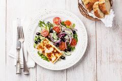 Salad with grilled cheese Royalty Free Stock Photography