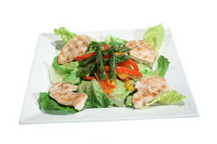 Salad with grilled chicken, asparagus and paprika Stock Photos