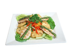 Salad with grilled chicken, asparagus and paprika Stock Images
