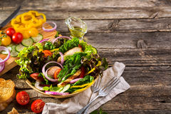 Salad with grilled chicken fillet and vegetables Royalty Free Stock Photography