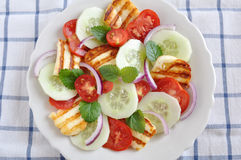 Salad with grilled Halloumi Cheese Stock Photo