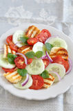 Salad with grilled Halloumi Cheese Royalty Free Stock Images