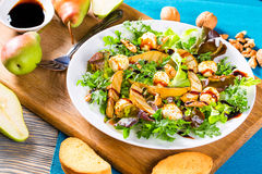 Salad with grilled pears, baby mozzarella balls, oakleaf lettuce and walnuts Stock Photography