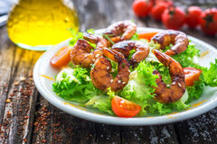 Salad with grilled prawns Royalty Free Stock Photography
