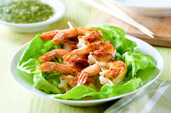 Salad with grilled shrimp Royalty Free Stock Photos