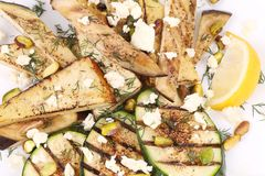 Salad with grilled vegetables and tofu Stock Images