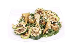 Salad with grilled vegetables and tofu. Stock Photos