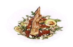 Salad with grilled vegetables and tofu. Stock Images