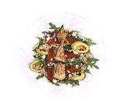Salad with grilled vegetables and tofu. Royalty Free Stock Images
