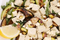 Salad with grilled vegetables and tofu. Stock Photo