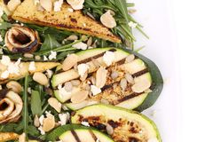 Salad with grilled vegetables and tofu. Stock Image