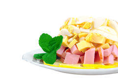 Salad with ham and cheese and egg Stock Images