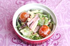 Salad with ham and cheese Royalty Free Stock Photography