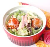 Salad with ham and cheese Royalty Free Stock Images