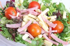 Salad with ham and cheese Stock Photo