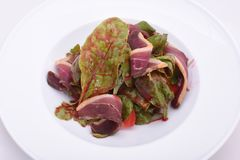 Salad with ham jamon, tomatoes and greens on the white plate royalty free stock image