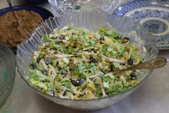 Salad with a ham, olives, corn and the Peking cabbage Stock Image