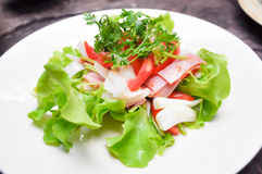 Salad. Ham and vegetable salad dish Royalty Free Stock Photos