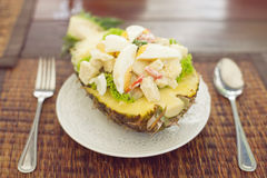 Salad Hawaii. On a table salad Hawaii in pineapple Stock Image