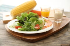 Salad for health. Salad is a congregation of various foods, that may or may not contain leafy vegetables, usually served chilled or at a moderate temperature Stock Photo