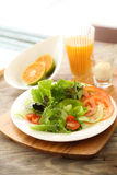 Salad for health. Salad is a congregation of various foods, that may or may not contain leafy vegetables, usually served chilled or at a moderate temperature Royalty Free Stock Photo