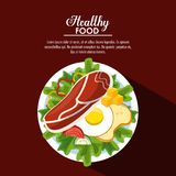 Healthy food information. Salad healthy food with information vector illustration graphic design Stock Photos