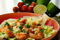 Salad. A healthy shrimps salad seasoned with green onion and parsley stock photography
