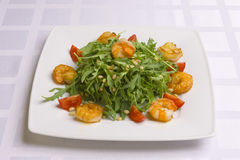 Salad with herbs, vegetables and shrimps Stock Images