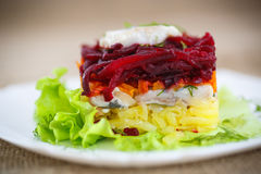 Salad with herring and boiled vegetables Royalty Free Stock Image