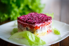 Salad with herring and boiled vegetables Royalty Free Stock Images