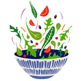Salad. Illustration of colorful fresh vegetables falling into a bowl Stock Image
