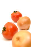 Salad ingredient. Tomato and onion royalty free stock image