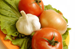 Salad ingredient on a plate. Salad ingredient. Tomato, onion and garlic. Isolated on a white stock photos