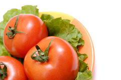 Salad ingredient on a plate. Salad ingredient. Tomato on a plate. Isolated on a white royalty free stock photography