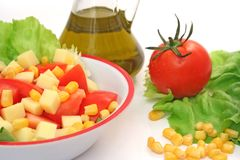 Salad and ingredients Royalty Free Stock Photo