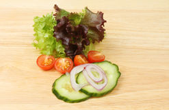 Salad ingredients on a board Royalty Free Stock Photography