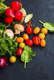 Salad ingredients with cherry tomatoes, parsley,radish,spinach, Royalty Free Stock Photography