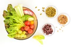 Salad ingredients in flat lay Stock Photo