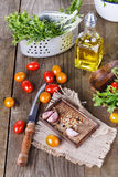 Salad ingredients on a rustic wooden background Royalty Free Stock Image